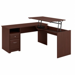 """Bush Furniture Cabot 3 Position L Shaped Sit to Stand Desk, 60""""W, Harvest Cherry, Standard Delivery"""