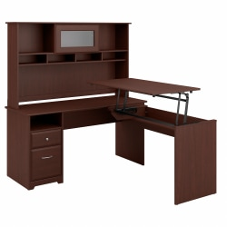 """Bush Furniture Cabot 3 Position L Shaped Sit to Stand Desk with Hutch, 60""""W, Harvest Cherry, Standard Delivery"""