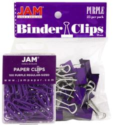 JAM Paper® Clips Combo Kit, Regular/Small, Purple
