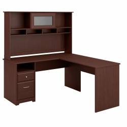 """Bush Furniture Cabot L Shaped Computer Desk with Hutch and Drawers, 60""""W, Harvest Cherry, Standard Delivery"""