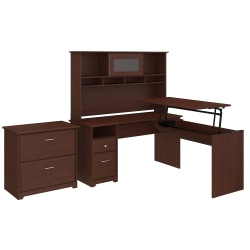 "Bush Furniture Cabot 3 Position L Shaped Sit to Stand Desk with Hutch and File Cabinet, 60""W, Harvest Cherry, Standard Delivery"