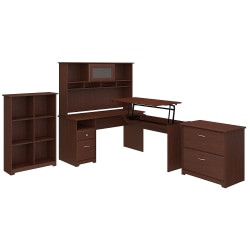 "Bush Furniture Cabot 3 Position L Shaped Sit to Stand Desk with Hutch and Storage, 60""W, Harvest Cherry, Standard Delivery"