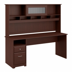"""Bush Furniture Cabot Computer Desk with Hutch and Drawers, 72""""W, Harvest Cherry, Standard Delivery"""
