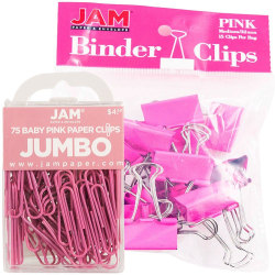 JAM Paper® Clips Combo Kit, Jumbo/Medium, Pink
