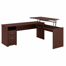 """Bush Furniture Cabot 3 Position L Shaped Sit to Stand Desk, 72""""W, Harvest Cherry, Standard Delivery"""