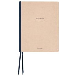 """AT-A-GLANCE® Signature Collection™ Casebound Notebook, 11"""" x 8 3/4"""", 160 Pages (80 Sheets), Navy Blue/Tan (YP14707)"""