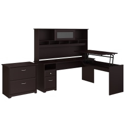 """Bush Furniture Cabot 3 Position L Shaped Sit to Stand Desk with Hutch and File Cabinet, 72""""W, Espresso Oak, Standard Delivery"""