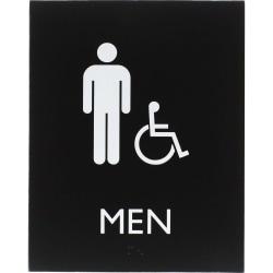 "Lorell Restroom Sign - 1 Each - Men Print/Message - 6.4"" Width x 0.8"" Height - Rectangular Shape - Easy Readability, Braille - Plastic - Black"