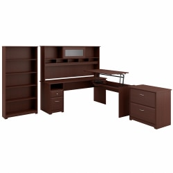 "Bush Furniture Cabot 3 Position L Shaped Sit to Stand Desk with Hutch and Storage, 72""W, Harvest Cherry, Standard Delivery"