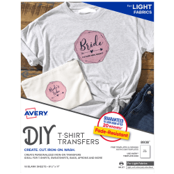 Avery® T-Shirt Transfers, Light, 8938, Pack Of 18