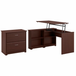 """Bush Furniture Cabot 3 Position Sit to Stand Corner Bookshelf Desk with Lateral File Cabinet, 52""""W, Harvest Cherry, Standard Delivery"""