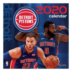 "Turner Licensing Monthly Wall Calendar, 12"" x 12"", Detroit Pistons, 2020"
