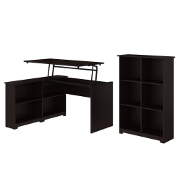 "Bush Furniture Cabot 3 Position Sit to Stand Corner Bookshelf Desk with 6 Cube Organizer, 52""W, Espresso Oak, Standard Delivery"