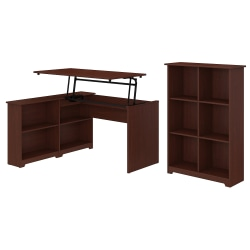 "Bush Furniture Cabot 3 Position Sit to Stand Corner Bookshelf Desk with 6 Cube Organizer, 52""W, Harvest Cherry, Standard Delivery"