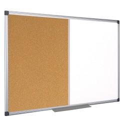 """MasterVision® Maya Cork/Dry-Erase Combination Board, Melamine, 48"""" x 72"""", White, Aluminum Frame"""