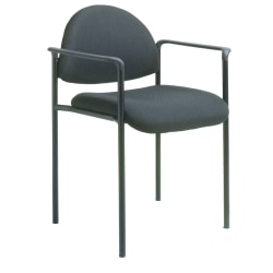 Boss Fabric Stacking Chair With Arms, Black