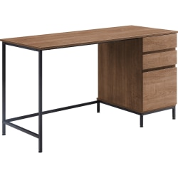 "Lorell SOHO 3-Drawer Desk - 55"" x 23.6"" x 30"" - 3 x File Drawer(s) - Single Pedestal on Right Side - Material: Steel Leg, Laminate Top - Finish: Walnut, Powder Coated Leg"