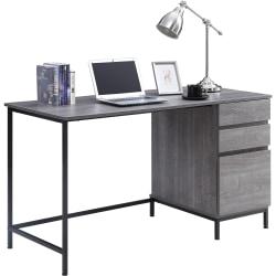 "Lorell SOHO 3-Drawer Desk - 55"" x 23.6"" x 30"" - 3 x File Drawer(s) - Single Pedestal on Right Side - Material: Steel Leg, Laminate Top - Finish: Charcoal, Powder Coated Leg"