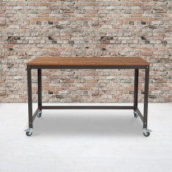 "Flash Furniture 47-1/4""W Wheeled Computer Table, Brown Oak/Black"
