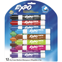 EXPO® Low-Odor Dry-Erase Markers, Chisel Point, Assorted Colors, Pack Of 12