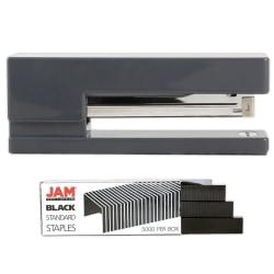 JAM Paper® 2-Piece Office Stapler Set, 1 Stapler & 1 Pack of Staples, Gray/Black