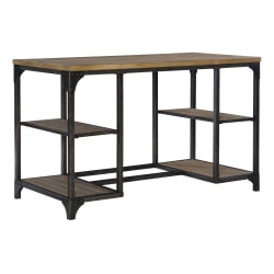 """Powell Donat 48""""W Desk With Shelves, Weathered Driftwood"""