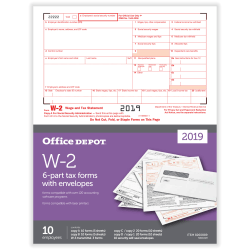 "Office Depot® Brand W-2 Laser Tax Forms And Envelopes, 2019 Tax Year, 6-Part, 8-1/2"" x 11"", Pack Of 10 Form Sets"