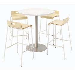 KFI Studios Round Bistro Pedestal Table With 4 Stacking Bar Stools, Designer White/Natural