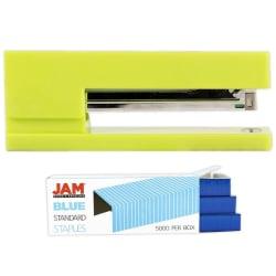 JAM Paper® 2-Piece Office Stapler Set, 1 Stapler & 1 Pack of Staples, Lime Green/Blue