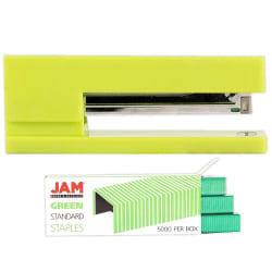 JAM Paper® 2-Piece Office Stapler Set, 1 Stapler & 1 Pack of Staples, Lime Green/Green