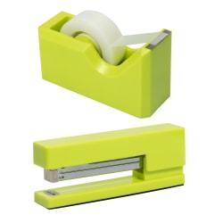 JAM Paper® 2-Piece Office And Desk Set, 1 Stapler & 1 Tape Dispenser, Lime Green