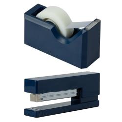 JAM Paper® 2-Piece Office And Desk Set, 1 Stapler & 1 Tape Dispenser, Navy Blue
