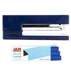 JAM Paper® 2-Piece Office Stapler Set, 1 Stapler & 1 Pack of Staples, Navy Blue/Blue