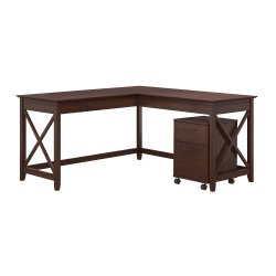 """Bush Furniture Key West 60""""W L-Shaped Desk With Mobile File Cabinet, Bing Cherry, Standard Delivery"""