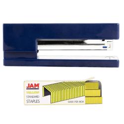 JAM Paper® 2-Piece Office Stapler Set, 1 Stapler & 1 Pack of Staples, Navy Blue/Yellow