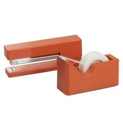 JAM Paper® 2-Piece Office And Desk Set, 1 Stapler & 1 Tape Dispenser, Orange