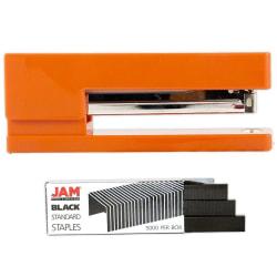 JAM Paper® 2-Piece Office Stapler Set, 1 Stapler & 1 Pack of Staples, Orange/Black