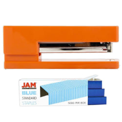 JAM Paper® 2-Piece Office Stapler Set, 1 Stapler & 1 Pack of Staples, Orange/Blue