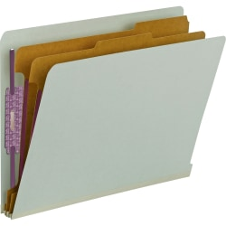 Smead® Pressboard Classification Folders With SafeSHIELD® Fasteners, End-Tab, 2 Divider, Letter Size, 60% Recycled, Gray/Green, Pack Of 10