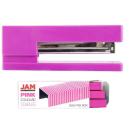 JAM Paper® 2-Piece Office Stapler Set, 1 Stapler & 1 Pack of Staples, Pink