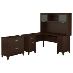 """Bush Furniture Somerset L Shaped Desk With Hutch And Lateral File Cabinet, 60""""W, Mocha Cherry, Standard Delivery"""