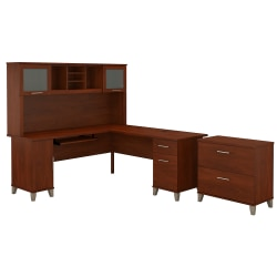 """Bush Furniture Somerset L Shaped Desk With Hutch And Lateral File Cabinet, 72""""W, Hansen Cherry, Standard Delivery"""