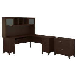 "Bush Furniture Somerset L Shaped Desk With Hutch And Lateral File Cabinet, 72""W, Mocha Cherry, Standard Delivery"