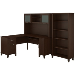 "Bush Furniture Somerset L Shaped Desk With Hutch And 5 Shelf Bookcase, 60""W, Mocha Cherry, Standard Delivery"