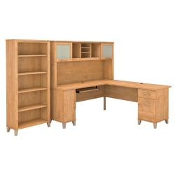 """Bush Furniture Somerset L Shaped Desk With Hutch And 5 Shelf Bookcase, 72""""W, Maple Cross, Standard Delivery"""