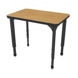 Marco Group Apex™ Series Adjustable Rectangle Student Desk, Solar Oak/Black
