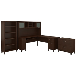 """Bush Furniture Somerset 72""""W L Shaped Desk With Hutch, Lateral File Cabinet And Bookcase, Mocha Cherry, Standard Delivery"""
