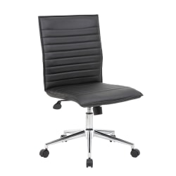 Boss Office Products Sleek Ribbed Armless Task Chair, Black