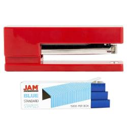 JAM Paper® 2-Piece Office Stapler Set, 1 Stapler & 1 Pack of Staples, Red/Blue