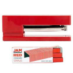 JAM Paper® 2-Piece Office Stapler Set, 1 Stapler & 1 Pack of Staples,  Red